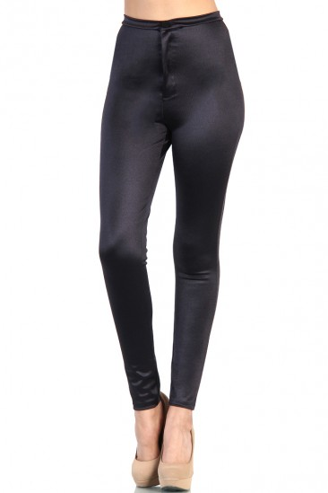 Shiny High Waist Pants - Black