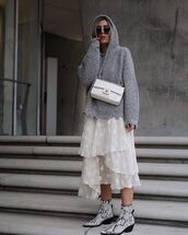 shoes,ankle boots,knit,hoodie,grey hoodie,white skirt,chanel bag,white bag