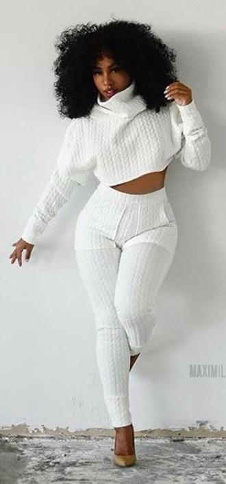 shirt white crop tops pants 2 piece set women