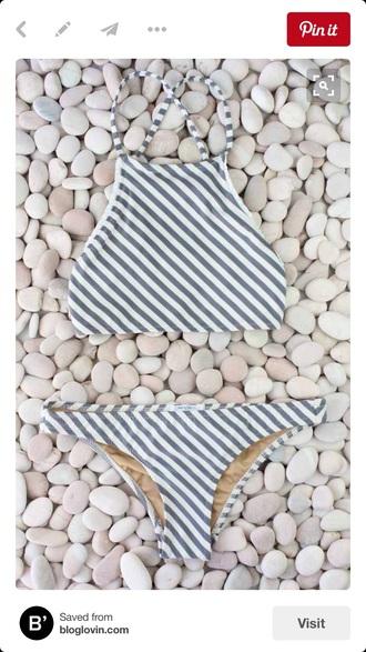 swimwear grey white stripey tank top bikini bikini top bikini bottoms hipster bikini