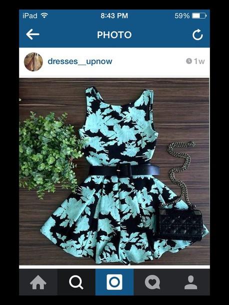 dress blue black floral