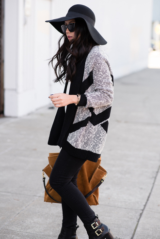 the fancy pants report blogger cardigan jewels sunglasses bag felt hat knitted cardigan ankle boots suede fall outfits printed cardigan