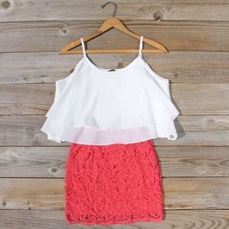 dress skirt coral lace blouse summer