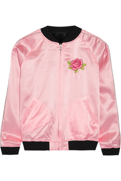 opening ceremony jacket embroidered silk satin pastel pink pastel pink
