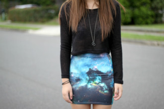black fashion swag outfit girly cute skirt shirt blue gurl galaxy print blue skirt t-shirt galaxy skirt