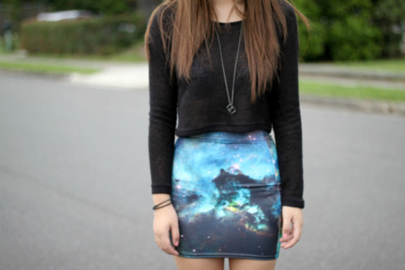 galaxy skirt blue skirt galaxy skirt blue tee shirt black girly gurl cute fashion swag outfit
