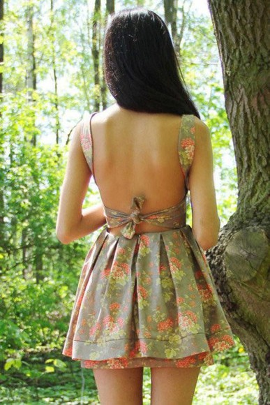 pink ribbon dress floral hipster vintage tumblr short dress back cut out dress cut out dress sleeveless dress skater dress bodycon summer dress floral dress vintage dress spring summer fashion fashion bustier dress puffy dress party dress short party dress pumps victoria secret cute dress beige dress