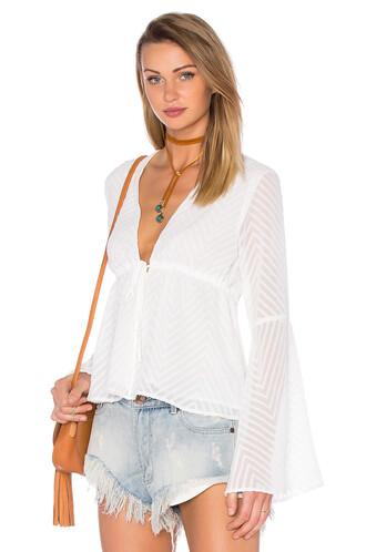 blouse long v neck white top