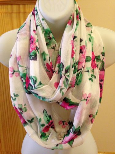 Women Fashion Pretty Rose Flower Prints Cowl Circle Loop Forever Infinity Scarf | eBay