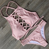 swimwear,bikini,pink,pale,rose gold,cut-out,pink bikini