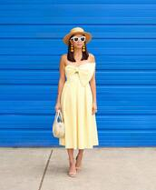 dress,hat,tumblr,yellow,yellow dress,gingham,gingham dresses,bow,sandals,sandal heels,high heel sandals,sun hat,sunglasses,white sunglasses,bag,shoes