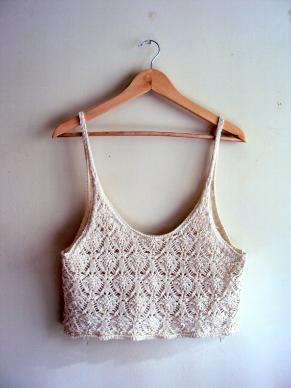 Crochet cropped loose top tank halter boho top by grahamsbazaar