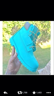 polo boots,turquoise,blue,blue boots,timberlands,timberland boots,cute,girs,shoes
