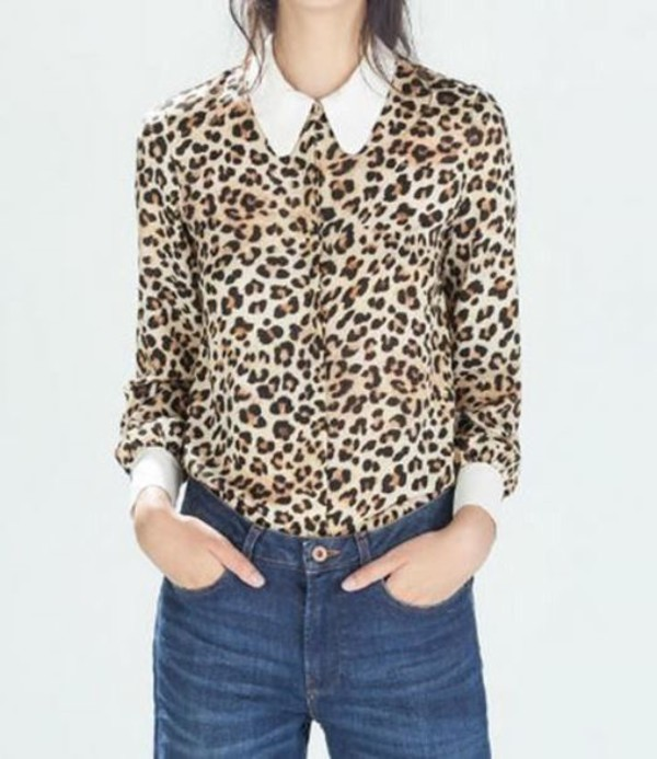 blouse leopard print top printed blouse long sleeve top cuffed blouse white cuffs white collar top www.ustrendy.com