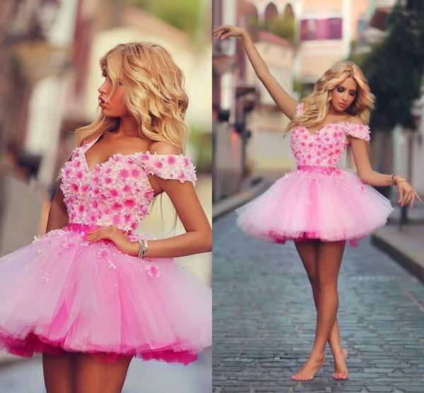 Sadek Majed Short Mini Pink A Line Prom Dresses V Neck