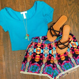 shorts top aztec aztec shorts crop tops turquoise turquoise crop top pattern