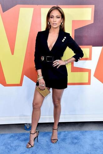 dress short dress mini dress jennifer lopez sandals plunge v neck mtv movie awards blazer belt