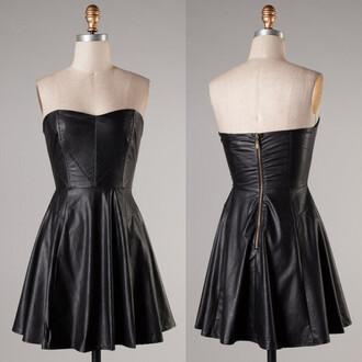 faux black leather dress sweetheart neckline skater dress