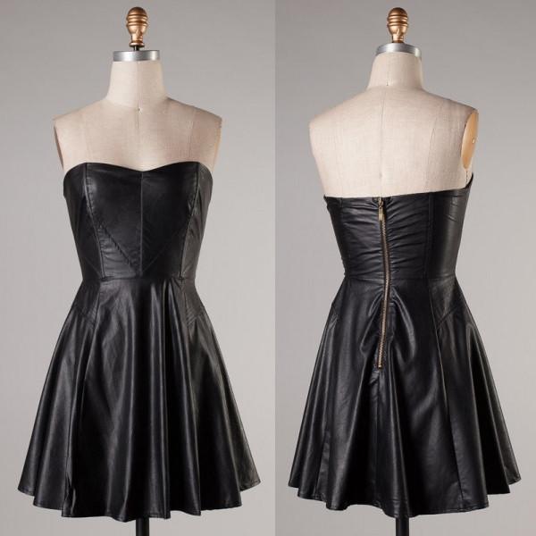 black leather dress faux sweetheart neckline skater dress