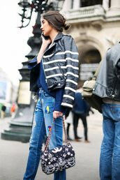 jacket,stripes,striped jacket,leather jacket,black leather jacket,ripped jeans,patch,chain bag,printed bag,embellished denim,streetstyle,chanel bag,embellished leather jacket