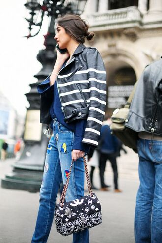 jacket stripes striped jacket leather jacket black leather jacket ripped jeans patch chain bag printed bag embellished denim streetstyle chanel bag embellished leather jacket