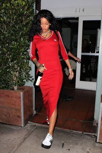 dress rihanna red dress adidas shoes