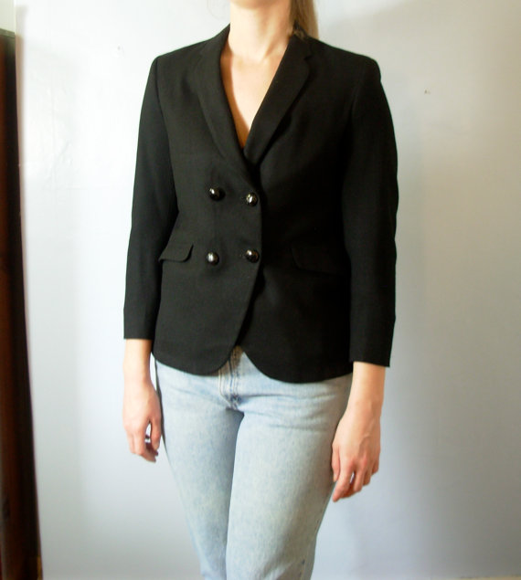 Vintage 60's black wool blazer, double breasted, slim lapel, Mabley and Carew Cincinnati OH, women medium