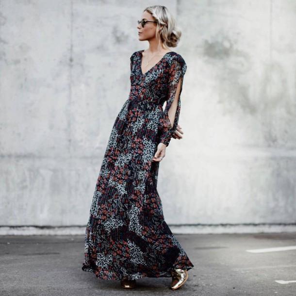 5dd976afe0 dress tumblr floral maxi dress maxi dress floral floral dress printed dress  long dress long sleeve
