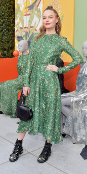 shoes,midi dress,green,green dress,kate bosworth,ankle boots,dress,spring outfits,spring dress