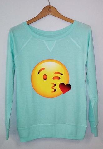 shirt awesome! emoji shirt mint sweater