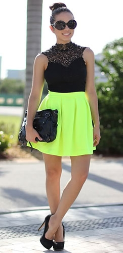 Neon lime green scuba skater circle pleated a line skirt by honey punch