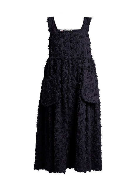 dress embroidered floral navy