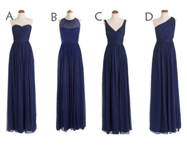 bridesmaid bridesmaid navy dress chiffon dress long dress long dress party dress prom dress one shoulder dresses
