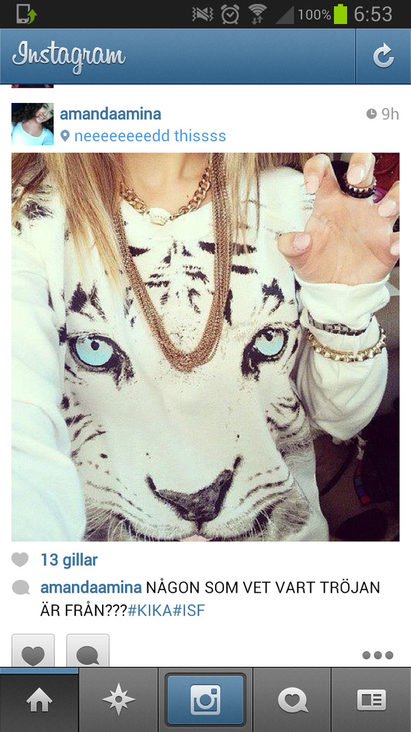 sweater white tiger