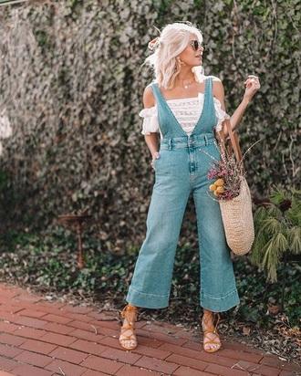 jeans denim overalls top white top bag straw bag dungarees overalls off the shoulder top off the shoulder sandals