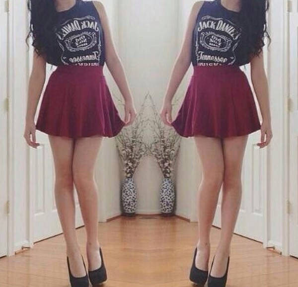 skirt red skater shirt