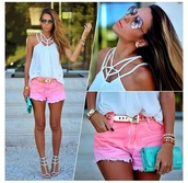 shorts,pink,dip dyed,bright,ombre shorts,distressed shorts,bright pink,top