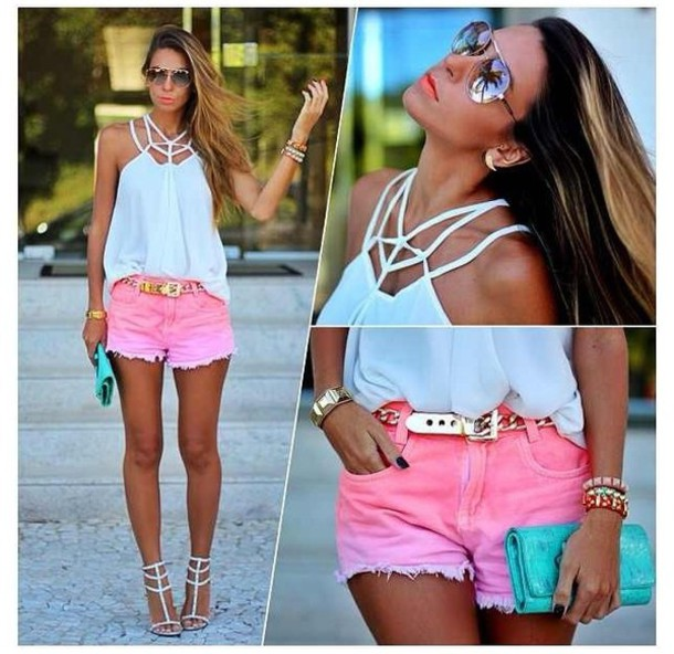 shorts pink dip dyed bright ombre shorts distressed shorts bright pink top