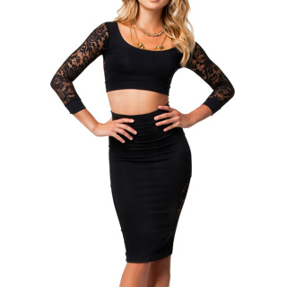 Sexy two piece black bodycon skirt set with lace sleeve top_14.37