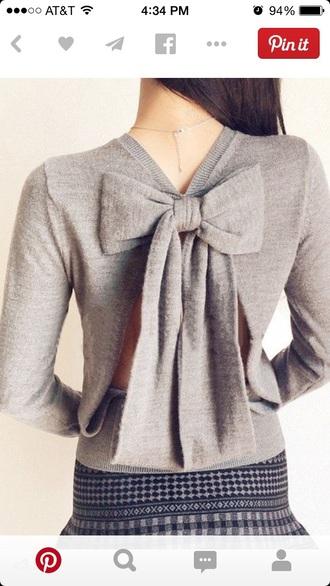 shirt grey sweater bows cardigan