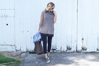 twopeasinablog blogger sweater leggings shoes jacket sunglasses slip on shoes louis vuitton bag