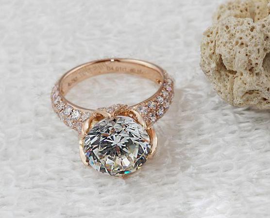 4CT Lotus Designer 18K Rose Gold SONA Synthetic Diamond Ring