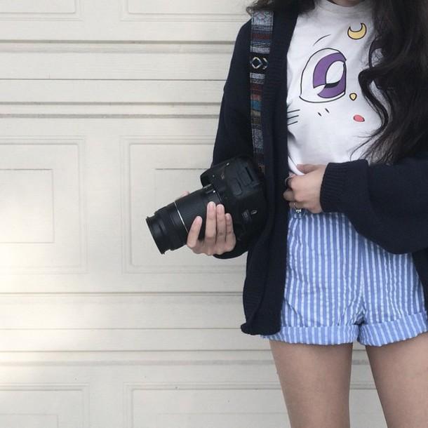 t-shirt shirt vintage sailor moon white white t-shirt purple cute basic oversized graphic tee shorts High waisted shorts tumblr tumblr girl anime cool camera cardigan
