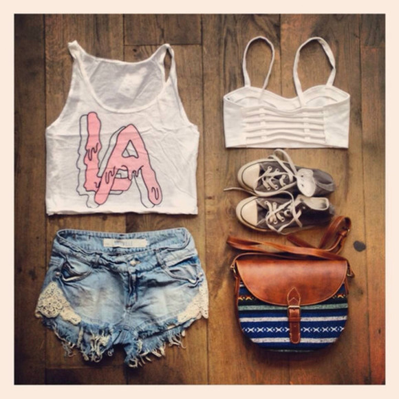 tank top white shorts bra denim brandy melville top converse bag shoes los angeles brandy