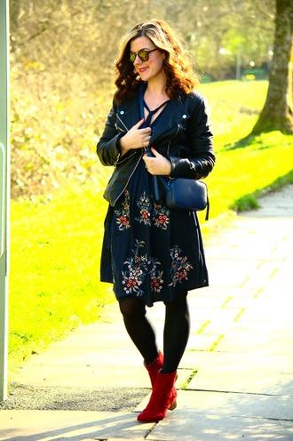 rachelthehat blogger dress shoes bag blue dress black leather jacket red boots boots blue bag crossbody bag