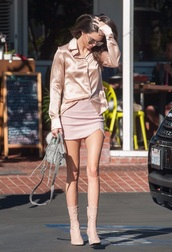 top,kendall jenner,nude,boots,suede,kardashians,silk,silk top,all nude everything,suede boots