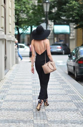 jumpsuit backless jumpsuit black jumpsuit open back backless hat black hat sandals high heel sandals sandal heels black sandals black high heels bag nude bag shoulder bag date outfit summer outfits
