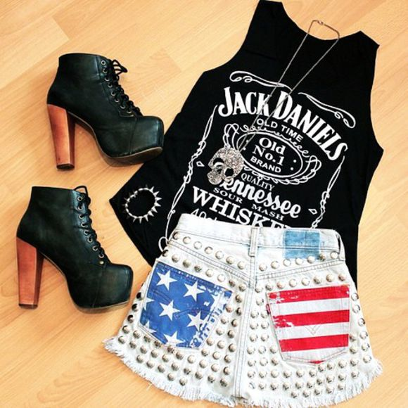 shirt pretty print blue tumblr summer shoes white shorts black cute girly trendy spring outfit flag american flag studs sexy all cute outfits facebook instagram instagramfashion stars usa high waisted short usa flag jack daniels shirt tank top music dope swag t-shirt top jewels