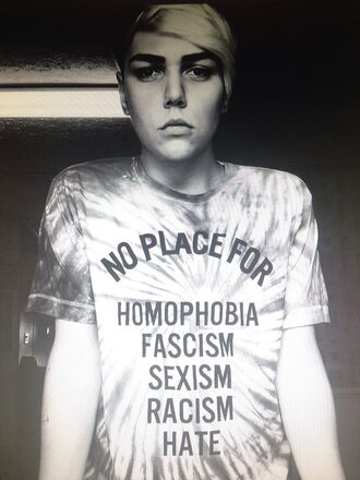 t-shirt tie dye no place for homophobia fascism sexism racism hate