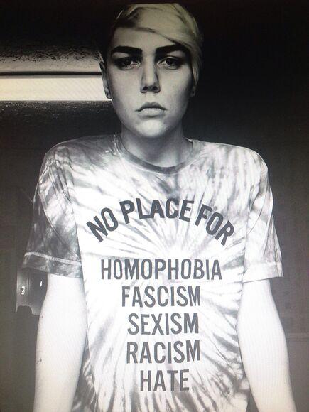 tie dye tiedye t-shirt t-shirt t-shirt no place for homophobia fascism sexism racism hate